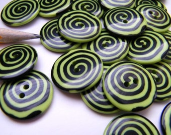 Whimsy Lime Green Swirl Button  - 7/8 inch - Two (2)