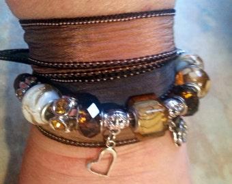 Lovely Silk Wrap Bracelet Topaz Twilight