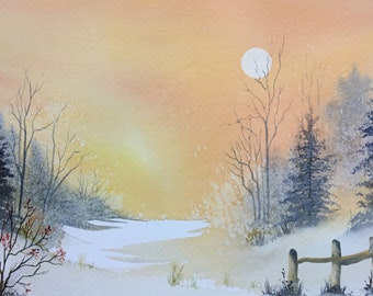 "Peaceful Morning - Sunrise.  Large original watercolour painting 14""x10"" by Pamela West"