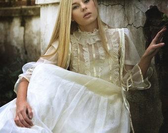 Two Piece White Gunne Sax Dress
