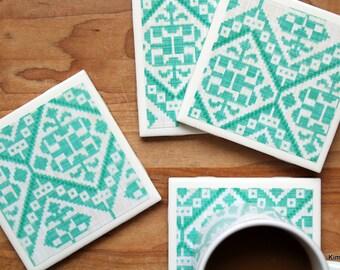 Coasters - Drink Coaster - Tile Coasters - Ceramic Coasters - Teal Coasters - Ceramic Tile Coasters - Coaster Set - Table Coasters