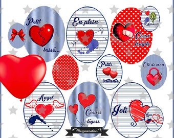 Retro digital * vintage heart * love balloon blue red collage clipart digital scrapbooking cabochon jewel