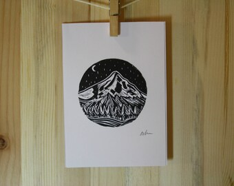 Linocut Print, Small, Mt Hood   5x7