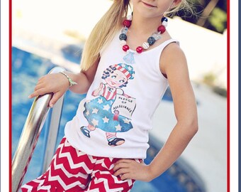 Patriotic retro girl tank top or ruffle shirt perfect for July 4th