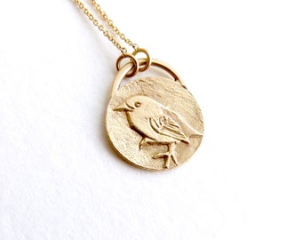 Delicate Disc Necklace, Engraved Gold Necklace, Statement Necklace, Long Necklace, Gold Coin Necklace, Sparrow Signet, Dainty Bird Necklace