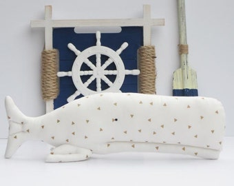White whale toy plush softie BIG stuffed whale handmade child friendly baby pillow toy fish nautical nursery decor baby shower gift