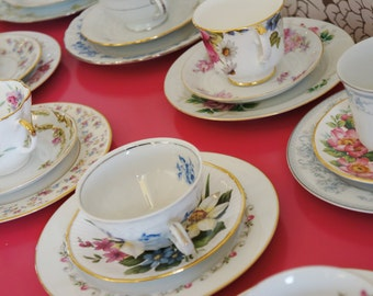 Vintage China Dessert Plate and Tea Cup Set  for Four - Tea Parties, Luncheons, Showers, Alice in Wonderland, Mother's Day