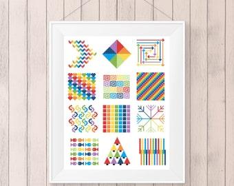 Modern Cross Stitch Pattern, Geometric, Rainbow, PDF, DMC Threads,