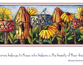 4 to a package art blank note cards of a whimsical garden with words of inspiration of love believe laugh, black eyed susans and bird houses