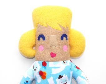 Zoe Pyjama Kid Plüsch Puppe, Stuffie, im Taschenformat, Kind freundlich, nett, huggable, Stofftier, Kuscheltier, Puppe