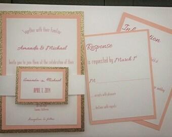 PInk Champagne Wedding Invitation Suite