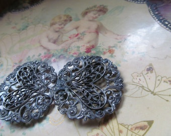 1800s Antique Victorian Silver Filigree  2 pc Belt Buckle Brooch Sweater Guards