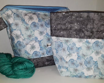Large or Medium Size Subtle Shades of Blue Poppies, Field of Flowers,Inspired WIP Tote Bag, Wedge Bag, Choice of Zipper or Drawstring