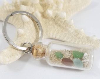 Beach Keychain, Genuine Beach Glass, Beach in a bottle,  Beach themed Keychain, Beach Glass Keychain, Beach Themed Keychain, Summer Keychain