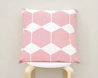 Pink Hexagon pillow cover, Pink Geometric Pillow Case 16x16
