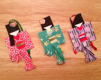 Japanese Paper Doll Origami Ornaments - set of three