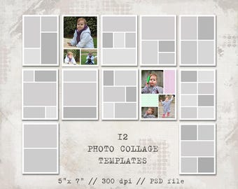 12 Storyboard Templates, 5x7, Photo Collage Templates, Layered Digital Collage, PSD Photographer Template, Digital Scrapbooking, Photo card