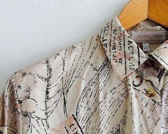 Vintage novelty blouse | naturel | printblouse | 80s blouse | vintage blouse | size M/L | DU 40 | medium large