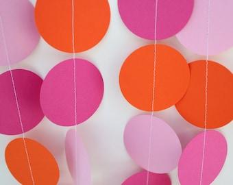 Pink and Orange Decoration- Paper garland, birthday decor, baby shower, bridal shower, wedding reception decor