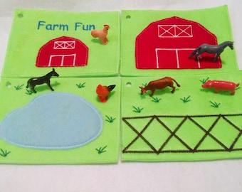 Felt quiet book - Toddler quiet book - Quiet book page - Toddler busy book - Busy book page - Felt busy book - Farm activity 4 pages  #ACT11
