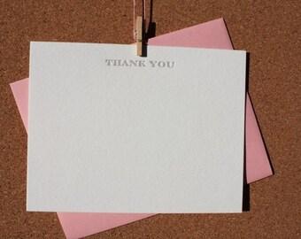Thank You Letterpress Note & Envelope, Set of 6