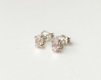 Morganite 925 sterling Silver earrings/Ear