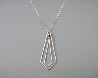 Silver Geometric Necklace, modern minimal chevron necklace with delicate sterling silver chain, engineer or math teacher gift, Linked Arrow