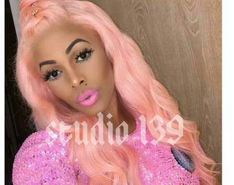 Celebrity inspired pink lace front wig