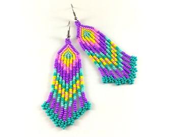 Beaded hippie earrings Bohemian seed bead jewelry Long fringe dangle colorful earrings Purple turquoise earrings Fun boho earrings beadwork