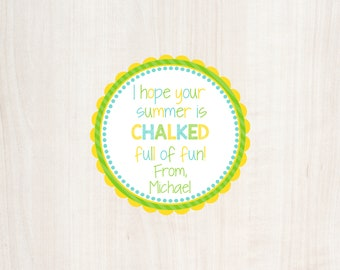 I hope your summer is chalked full of fun, Summer Tag, School Tag, End of School Favor Tag, End of Year Favor Tag, Chalk Tag, Chalk, Tag