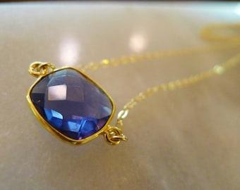 Midnight Blue Quartz Necklace in Gold