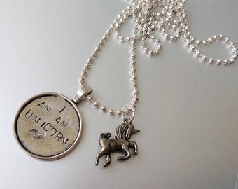 I am an Unicorn, handstamped charm and necklace