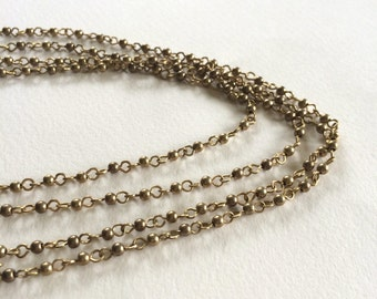 Vintage Bead Chain, Brass Bead Chain, Brass Rosary Chain, Small Bead Chain, 3mm, 5Ft