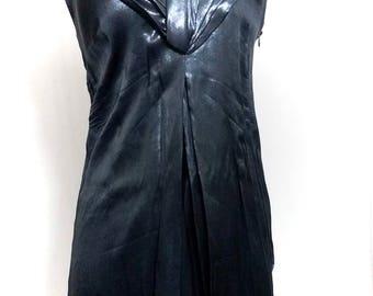 dark blue dress with v-neck