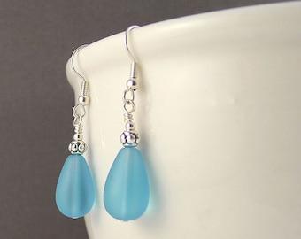 Blue sea glass earrings sea glass jewelry seaglass earrings seaglass jewelry handmade jewelry handmade earrings blue beaded earrings gift