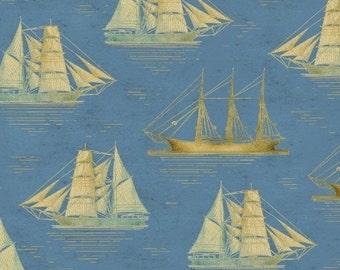 Tall Ships - Nautical  Blue and Tan Ship Sailboat fabric - by the half yard - Windham Fabrics - 100% cotton