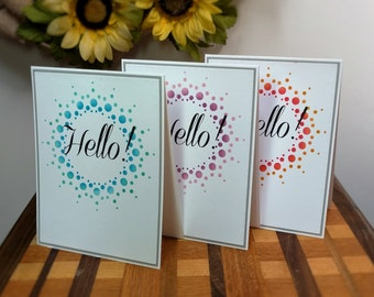 Hello Greeting Card Pack, Sets of 6, Dot Burst Design, Greeting Card Pack