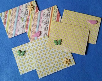 Six Patterned Mini Cards Gift Tags with rhinestone felt accents, birds flowers butterflies