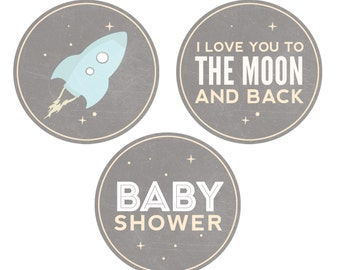 Outer Space Baby Shower Invitation - Space Baby Shower - Grey - Dwell Studio Galaxy Inspired