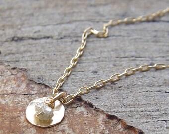 Raw Diamond Necklace, Gold Necklace, Unique Bridal Jewelry, Raw Diamond Jewelry, Rough Diamond Necklace, Dainty Gold Necklace, Gold Necklac