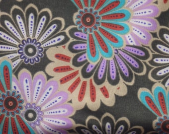 """Vintage Sheer Floral Knit Fabric, Four-Way Stretch, 60"""" Wide x 1.5 Yards, Flower Power Hippy Fabric"""