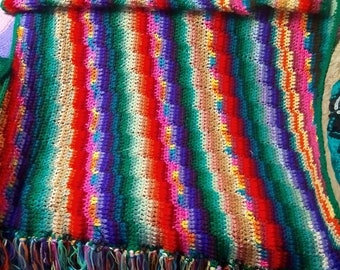 "45"" x 60"" One of a Kind Afghan of Many Colors, Crocheted Blanket"