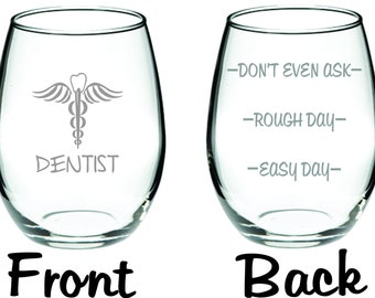 Etched Dentist Glass  FREE Personalization