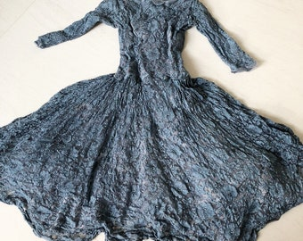 1950s Grey Blue Lace Dress with Scallop Neckline