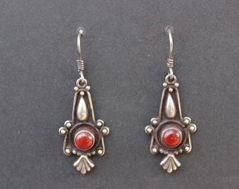 "Beautiful Bohemian Vintage Sterling Silver Earrings with ""Carnelian"" Accents"