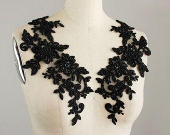 New Item! Black Sequin Beaded Venise Floral Lace 2 Piece Applique / Bridal Veil / Wedding Dress / One Pair / 12 Inches / Fancy Lace Collar