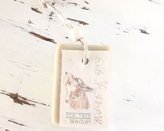 Tea Tree and Sea Clay Goat Milk Soap On A Rope, All Natural Soap, Tea Tree Essential Oil Soap, Goat's Milk Soap