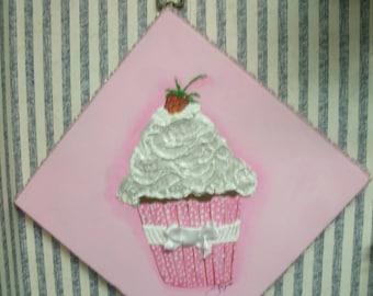 Original Textured Acrylic Painting Cupcake By Jayne 10 x 10