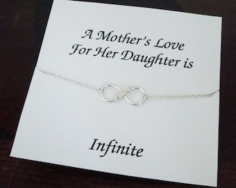 Love Infinity Charm Sterling Silver Bracelet ~~Personalized Jewelry Gift Card for Daughter, Step Daughter, Bridal Party, Graduation