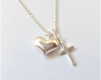 Sterling Silver Charm Necklace, Silver Layering Necklace, Heart Charm Necklace, Cross Charm Necklace.